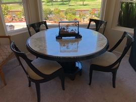 Beautiful recently reupholstered Retro/Asian flair table and chairs