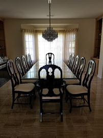 Modern Glass Top Dining Table w/10 Side Chairs & 2 Arm Chairs in Black Lacquer