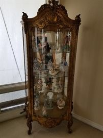 Wood Display Case w/Collectibles
