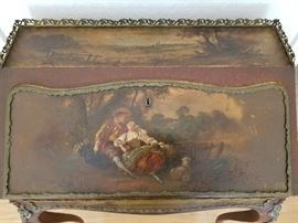 Antique French Writing Desk, Circa 1850/60 - Hand Painted on Top, Front & Sides