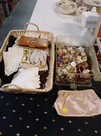 VINTAGE GLOVES, PURSES, JEWELRY