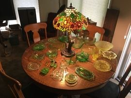 Antique round oak table with 4 chairs