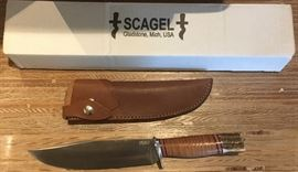 Scagels Large Bowie Knife in original box.