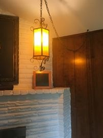 Mid century hanging swag lamp