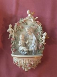 Porcelain Mother Mary religious wall hanging fountain