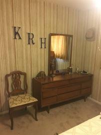 Mid century modern dresser with mirror, vintage side chair