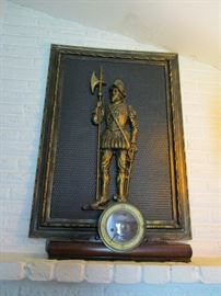 Tin wall plaque of conquistador