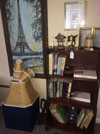 Books, Paris painting, antique book shelf
