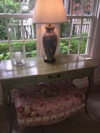 Roche Bobois - Paris table with center drawer, lamp and ottoman