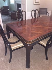 Baker Dining Table with 8 chairs - table has 2 additional leaves and pads