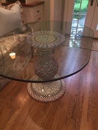 Mackenzie Child's pedestal table with glass top - 2 styles of pedestal tables available