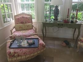 Arm Chair with Ottoman, Roche Bobois - Paris Table, lamp, Makenzie Childs candlesticks and more :)