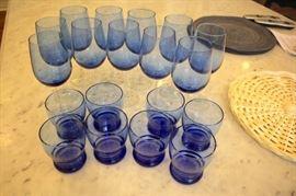 Blue Glass and Stemware
