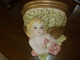 Ceramic cherub wall shelf