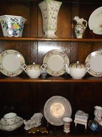 Assorted porcelain pieces from Germany and Japan including Meissen cup, saucer, & plate