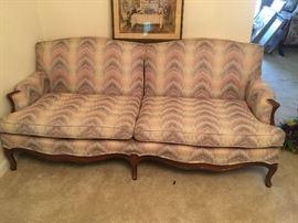 "#2antique wood leg sofa peach, cream, and gray 80"" $125.00"