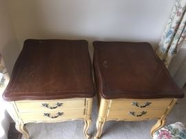 #9(2) Yellow end table with wood top 20.5X26x22.5 $75 each $150.00