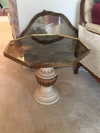 """#10octagonal, white and gold painted end table 20""""x18"""" $30.00"""