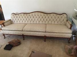 """#11cream camel back, button back, antique sofa 93"""" $150.00"""