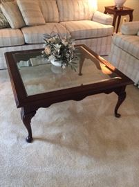 Beautiful beveled glass Coffee Table set in deep walnut. Queen Anne turned legs