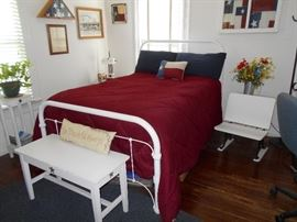 Full iron bed, antique school desk and more