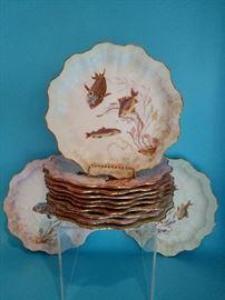 Set of twelve Doulton Burslem hand painted fish plates, circa 1890's