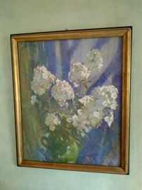 "Laura Coombs Hill Am. 1859-1952 Pastel ""White Phlox in the Sunshine"""