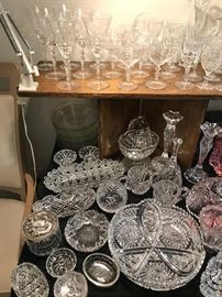 Etched crystal stemware, Brilliant period cut glass