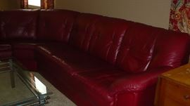 3 PC. RED LEATHER SOFA, VERY NICE