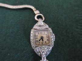 Tiffany Art Deco watch  platinum, diamonds, with 14K band