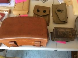 Military items, German medical kit carrier in leather