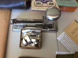 Military pins, vintage stapler