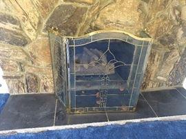 Beautiful Large Glass & Brass Fireplace Screen