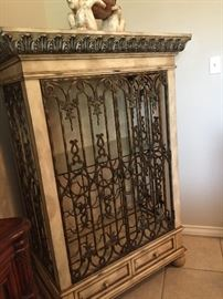 Wrought Iron Cage Style Wine/Liquor Cabinet