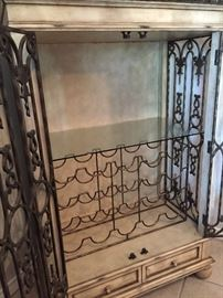 Wrought Iron Cage Style Wine/Liquor Cabinet ~ Interior