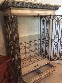 Wrought Iron Cage Style Wine/Liquor Cabinet ~ Interior, Showing Drawers, Wine Rack, Shelving for Stemware