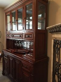 Lighted China Cabinet with Plate Holders, Wine Glass Holders