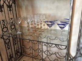 Wrought Iron Cage Style Wine/Liquor Cabinet ~ Interior, Showing Drawers, Wine Rack, Shelving for Stemware, Martini Glasses, Poland Gold Stem Martini Glasses, Cobalt Blue Swirl Martini Glasses