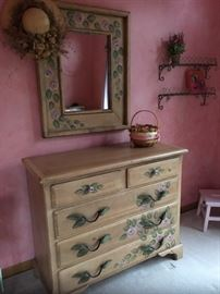 Custom made dresser with hand painted roses. Matching mirror