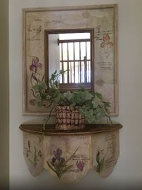 Botanical flowered wall mirror and shelve