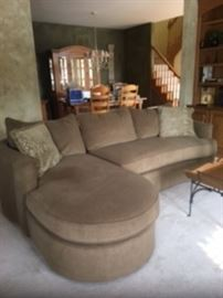 Custom made BERNHARDT sofa! Very comfortable! Two pieces that fasten together. Left Arm Chaise & Right Arm Love seat