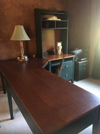 Four (4) piece desk unit; included computer desk, flat top desk, corner unit, storage deck. Matching file cabinet & chair. Natural brown wood top with hunter green painted.