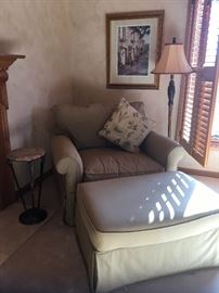 Overstuffed lounge chair with ottoman
