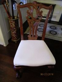 Chairs are in excellent condition.  White fabric  covered seats.