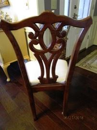 Back of dining chairs
