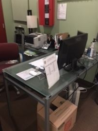office desk, printer, supplies