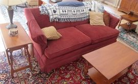 Two identical Full Size Cranberry Red Upholstered Sofas