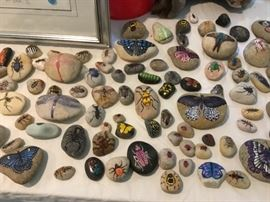 Lots of himsical painted rocks.