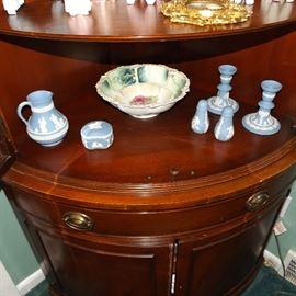 assorted pieces of Wedgwood jasper ware, antique porcelain fruit bowl