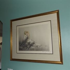 """Louis Icart (1888-1950), original etching, drypoint and aquatint, with hand coloring, """"Young Mother"""", (in French: """"Le Jeune Mere"""", circa 1929"""